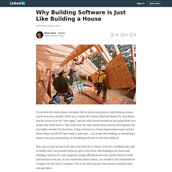 Why Building Software is Just Like Building a House