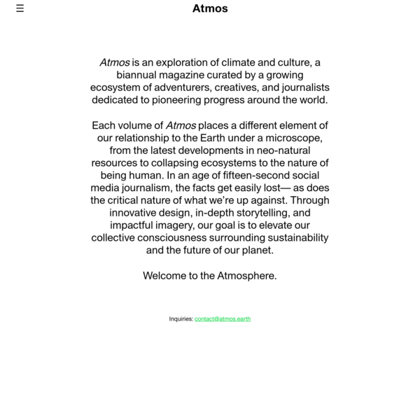 Atmos Magazine - Climate and Culture - atmos.earth