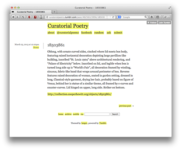 Curatorial Poetry