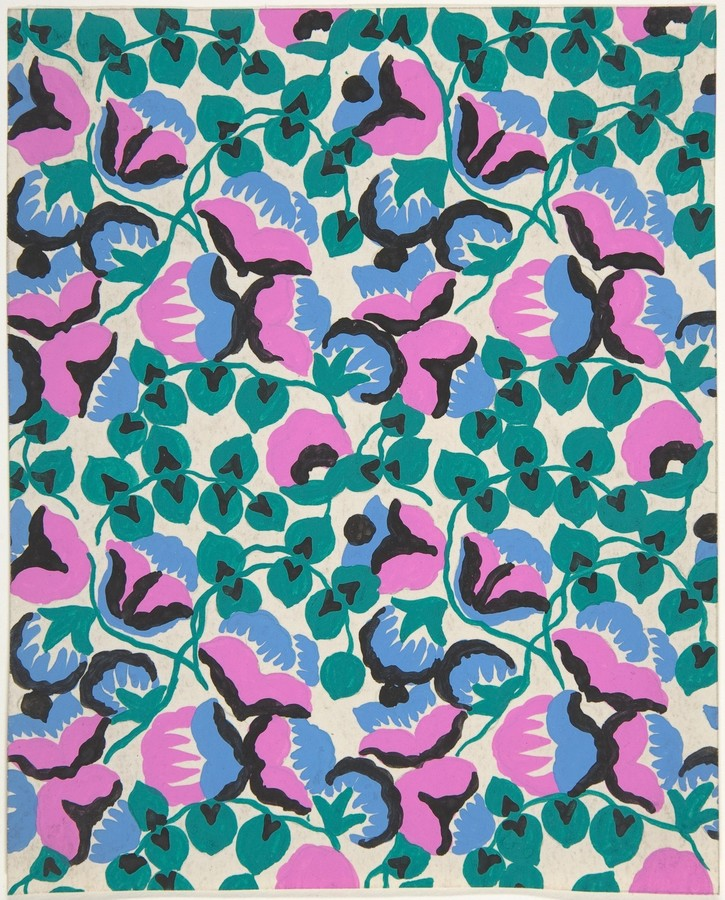 Paul Poiret, Fabric Design with Sweet Pea Flowers and Vines ca. 1918–25, gouache and stencil over graphite