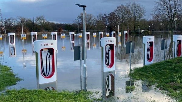 underwater Tesla electric vehicle stations in Wokingham