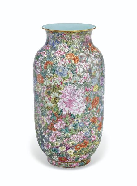 Famille Rose Mille Fleurs Lantern Vase, Jiaqing Iron-Red Six-Character Seal Mark, 1796-1820