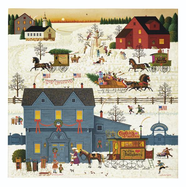 Charles Wysocki, A Warm Connecticut Christmas Love, oil on canvas