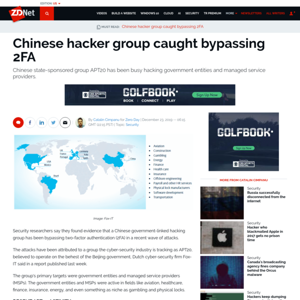 Chinese hacker group caught bypassing 2FA   ZDNet