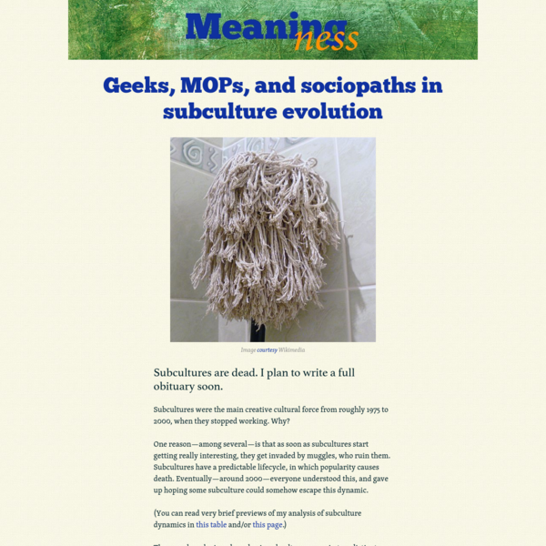 Geeks, MOPs, and sociopaths in subculture evolution