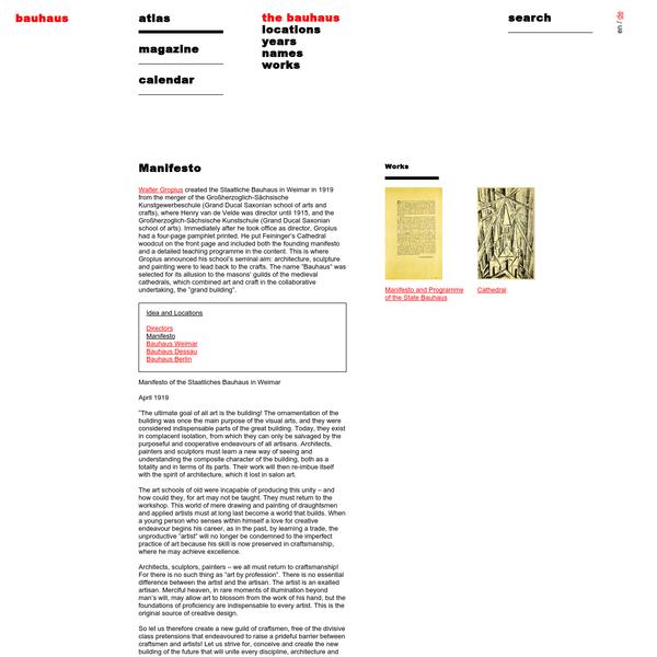 Bauhaus Manifesto, Walter Gropius