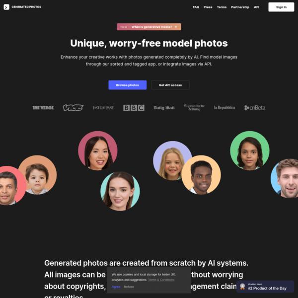Generated Photos   Unique, worry-free model photos