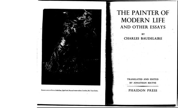 """Baudelaire, """"The Painter of Modern Life,"""" 1863"""