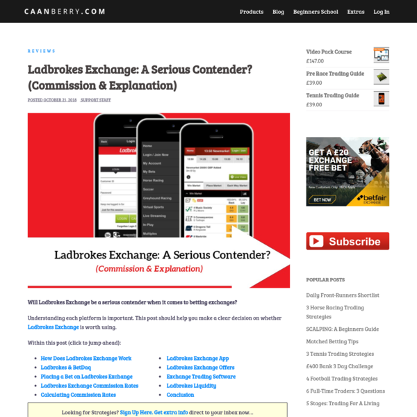 Ladbrokes Exchange: A Serious Contender? (Commission & Explanation) -