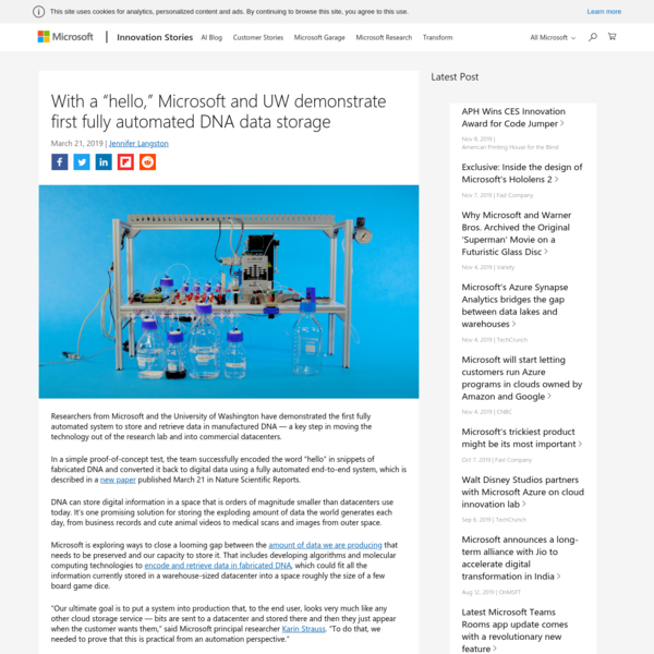Microsoft, UW demonstrate first fully automated DNA data storage