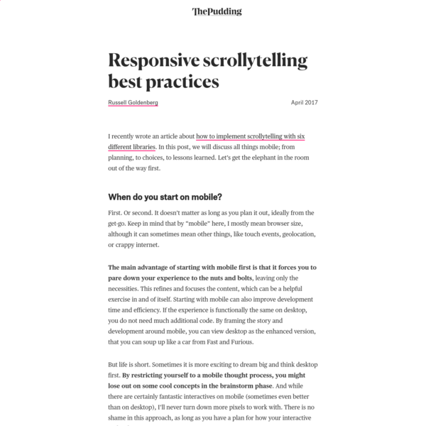 Responsive scrollytelling best practices
