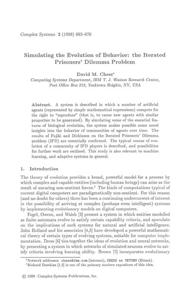 David M. Chess, Simulating the Evolution of Behavior: the Iterated Prisoners' Dilemma Problem (1988)