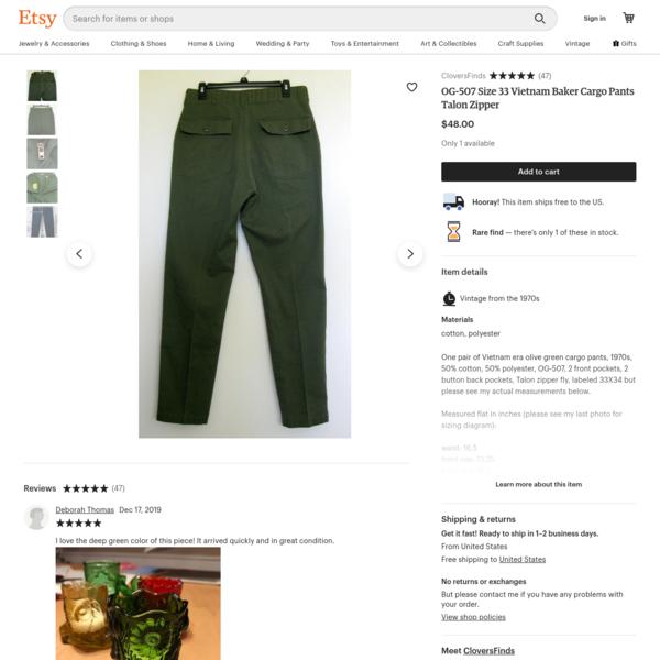 OG-507 Size 33 Vietnam Baker Cargo Pants Talon Zipper | Etsy