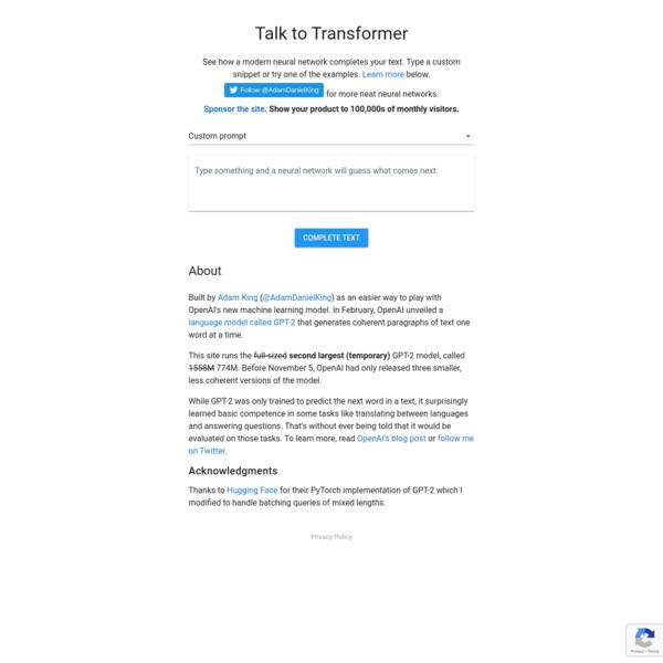 Talk to Transformer
