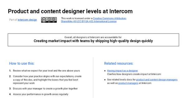 Product and content designer levels at Intercom