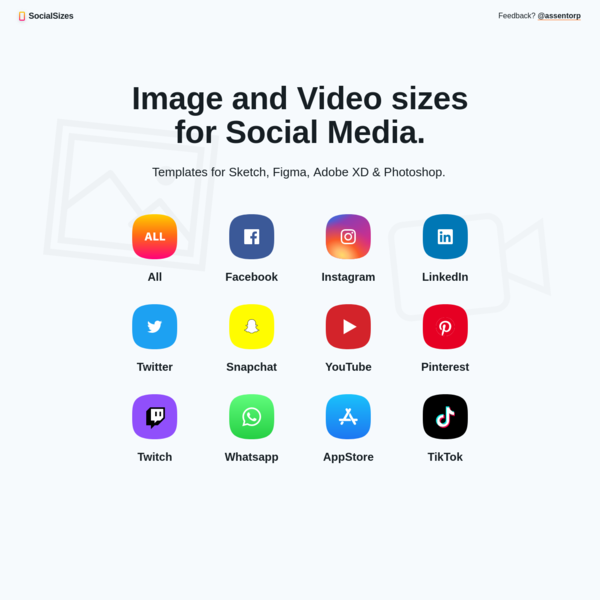 SocialSizes.io - Image and Video sizes for Social Media