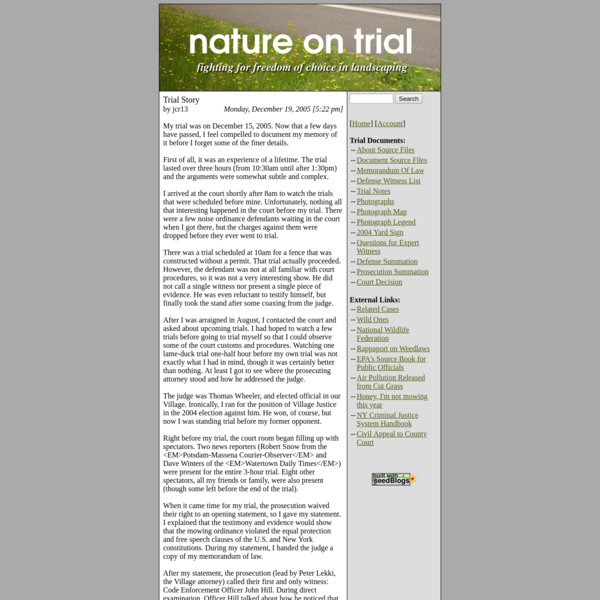 Nature On Trial: Natural Landscaping Rights