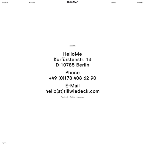HelloMe is a Berlin based design studio creating ideas, art direction and design for art, culture and commerce.
