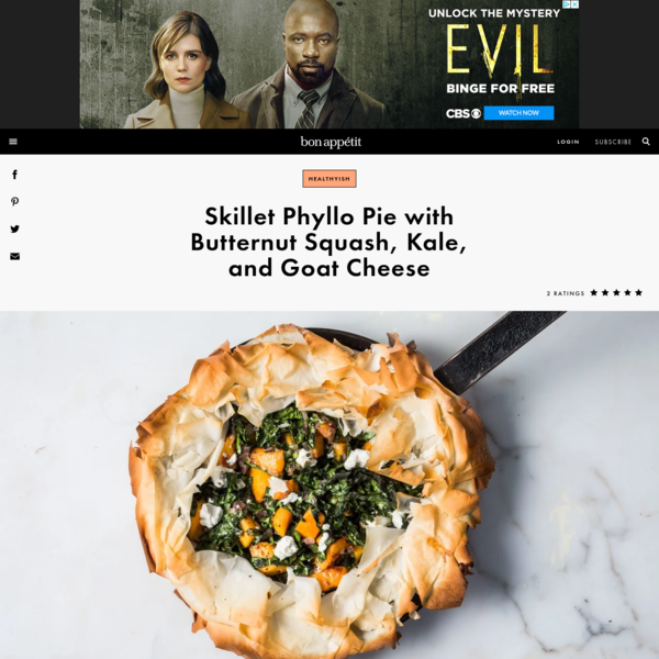 Skillet Phyllo Pie with Butternut Squash, Kale, and Goat Cheese Recipe