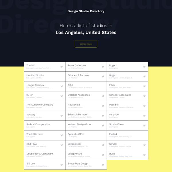 Studios in Los Angeles, United States | Design Studio Directory