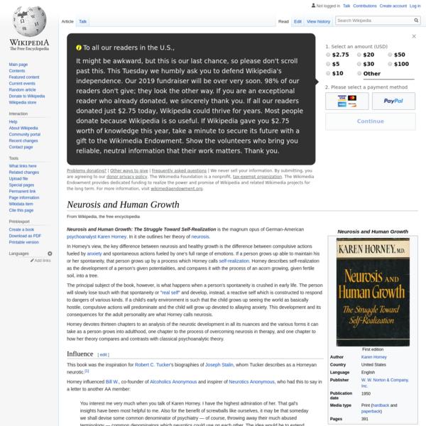 Neurosis and Human Growth - Wikipedia