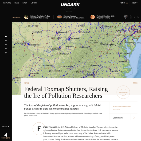 Federal Toxmap Shutters, Raising the Ire of Pollution Researchers