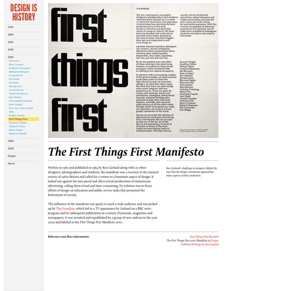 First Things First : Design Is History