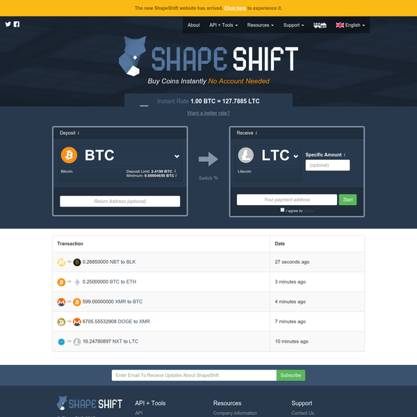 ShapeShift | The fastest way to swap cryptocurrencies. No account required.