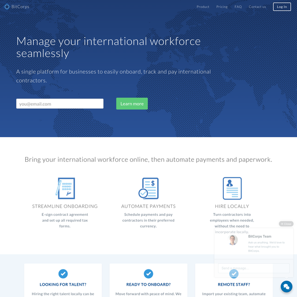 BitCorps is a single platform for businesses to easily onboard, track and pay international contractors.
