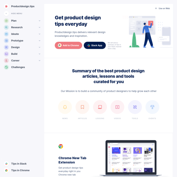 Productdesign.tips - a curated collection of product design articles, lessons, tools, videos, podcasts, courses and other re...