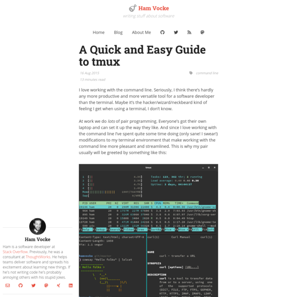 A Quick and Easy Guide to tmux