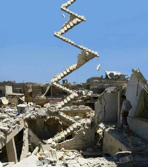 thelastrefia: Stairway to Heaven. Left After Assad Bombing in Aleppo