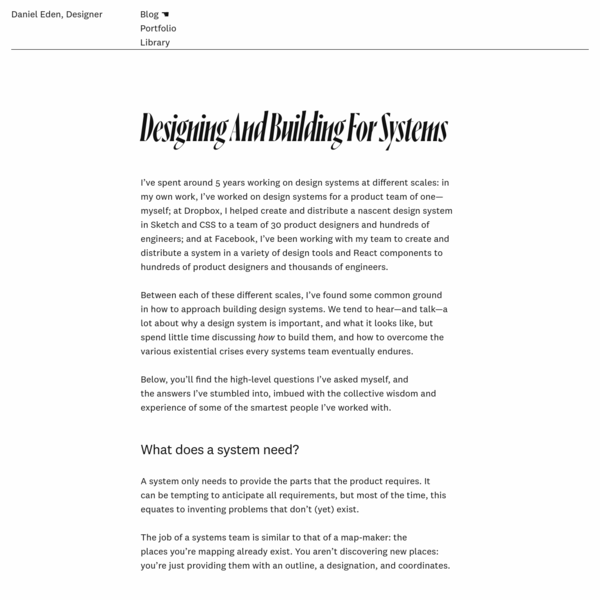 Designing And Building For Systems