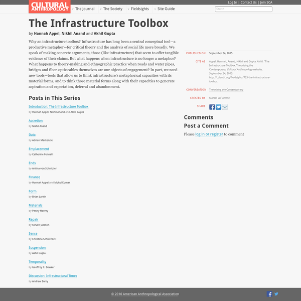 Why an infrastructure toolbox? Infrastructure has long been a central conceptual tool-a productive metaphor-for critical theory and the analysis of social life more broadly. We speak of making concrete arguments, those (like infrastructure) that seem to offer tangible evidence of their claims. But what happens when infrastructure is no longer a metaphor?