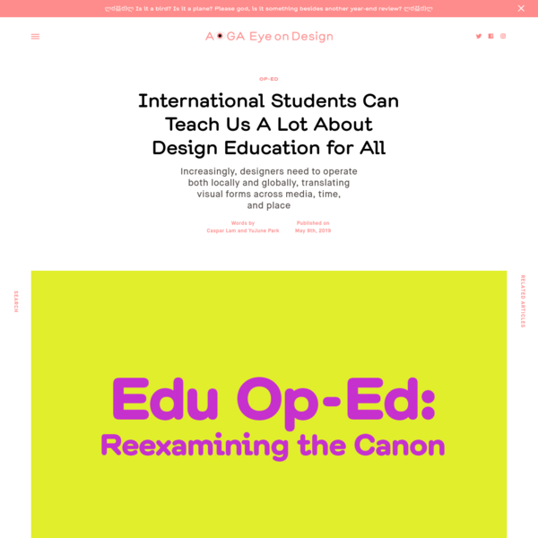 International Students Can Teach Us A Lot About Design Education for All