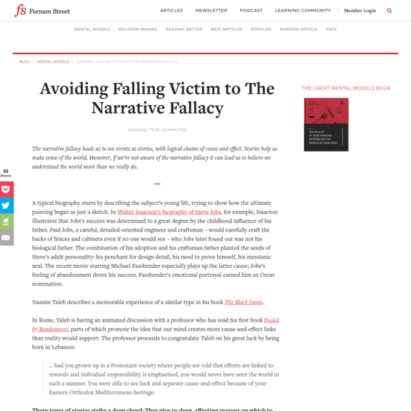 Avoiding Falling Victim to The Narrative Fallacy