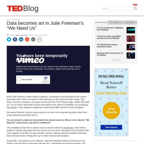 "Data becomes art in Julie Freeman's ""We Need Us"""