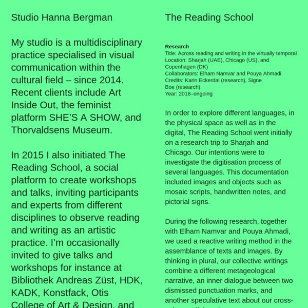 The Reading School - Studio Hanna Bergman