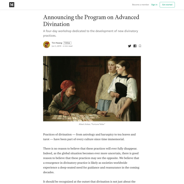 Announcing the Program on Advanced Divination