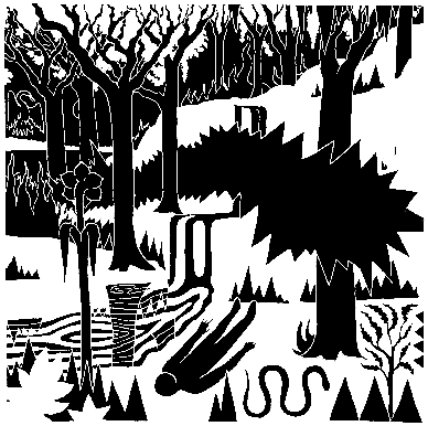 a quiet grove is disturbed by the passage of a scorching ⥇✸