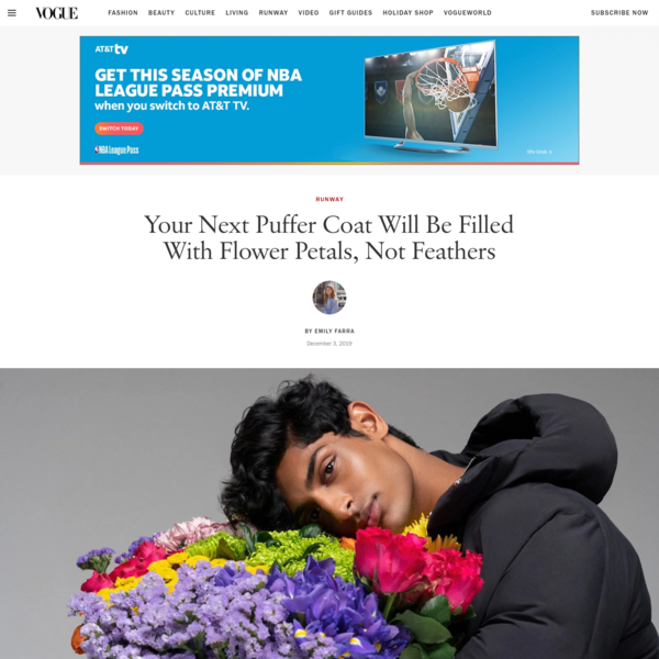Your Next Puffer Coat Will Be Filled With Flower Petals, Not Feathers