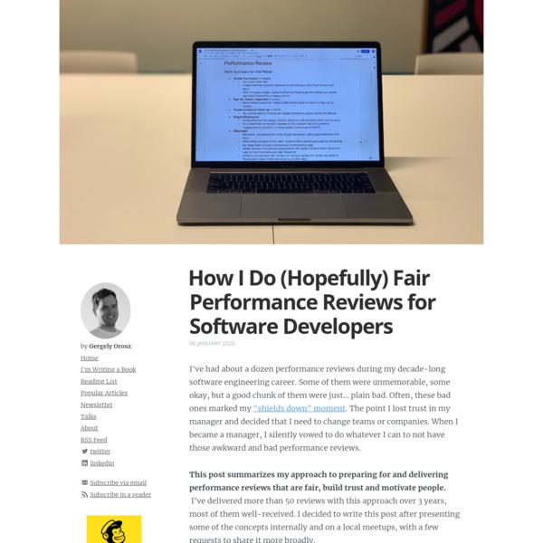 How I Do (Hopefully) Fair Performance Reviews for Software Developers