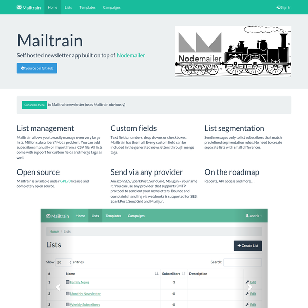 Mailtrain | Self hosted email newsletter app