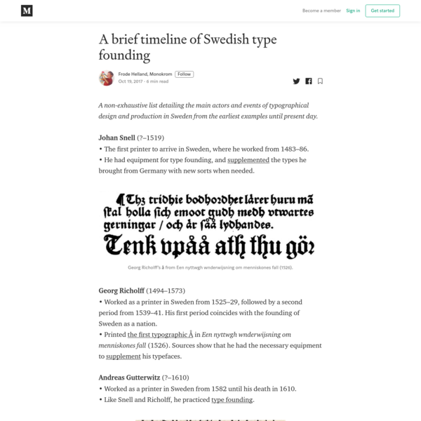 A brief timeline of Swedish type founding