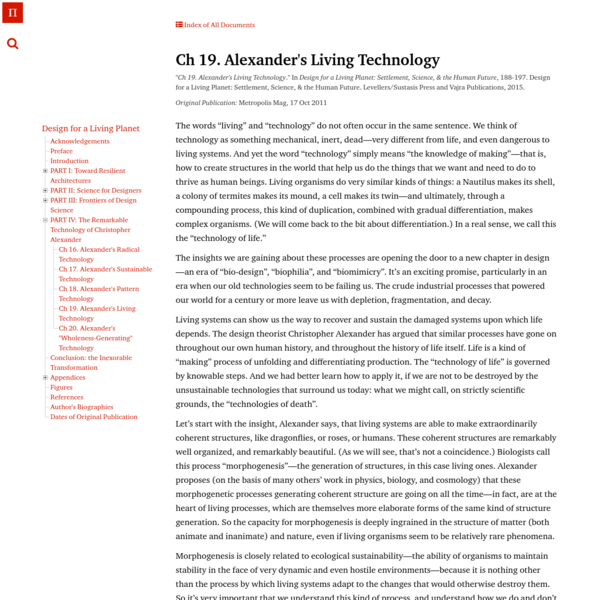 Ch 19. Alexander's Living Technology | Architecture's New Scientific Foundations