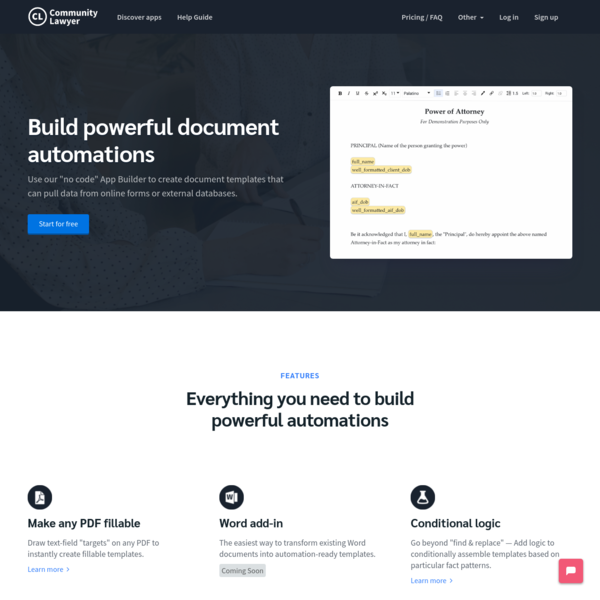 Build document assembly apps for your law practice | Community.lawyer