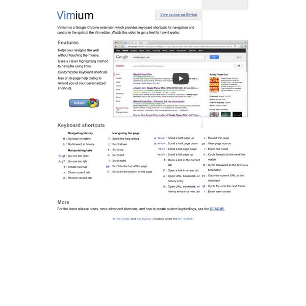 Vimium - the hacker's browser