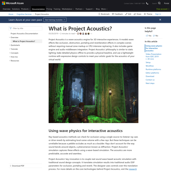 Project Acoustics Overview - Azure Cognitive Services