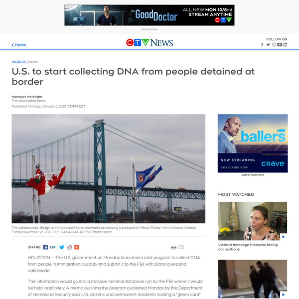 U.S. to start collecting DNA from people detained at border | CTV News