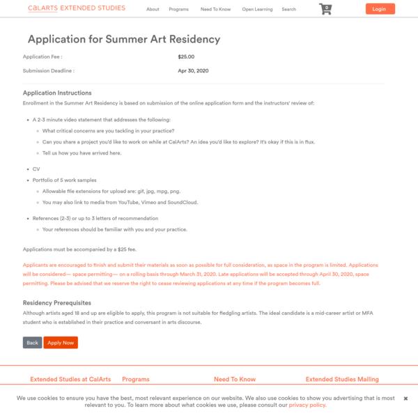 Application for Summer Art Residency